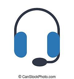 headphone glyph color vector icon