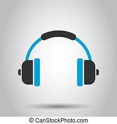 Headphone headset icon in flat style. Headphones vector illustration on white background. Audio gadget business concept.