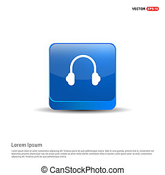 Headphone icon - 3d Blue Button