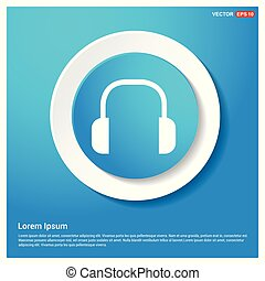 Headphone icon Abstract Blue Web Sticker Button