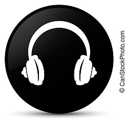 Headphone icon black round button
