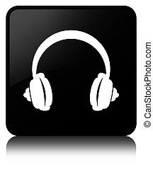 Headphone icon black square button