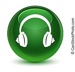 Headphone icon glassy soft green round button