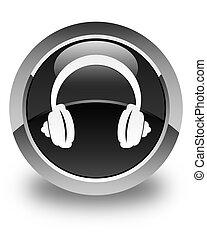 Headphone icon glossy black round button