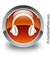 Headphone icon glossy brown round button