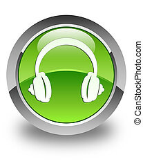 Headphone icon glossy green round button