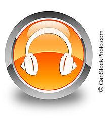Headphone icon glossy orange round button