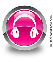 Headphone icon glossy pink round button