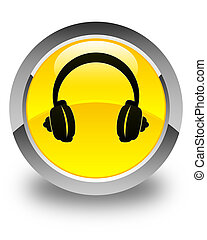 Headphone icon glossy yellow round button