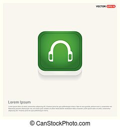 Headphone icon Green Web Button