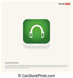 Headphone icon Green Web Button