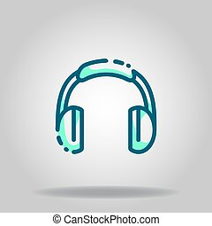 headphone icon or logo in  twotone - Logo or symbol of ...