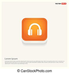 Headphone Icon Orange Abstract Web Button