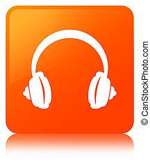 Headphone icon orange square button