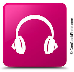 Headphone icon pink square button