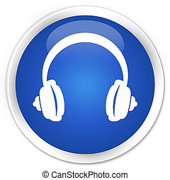 Headphone icon premium blue round button