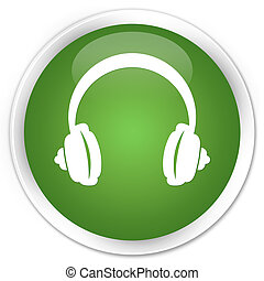 Headphone icon premium soft green round button
