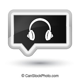 Headphone icon prime black banner button