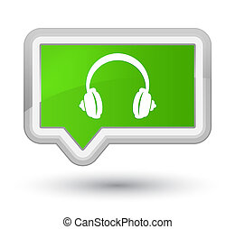 Headphone icon prime soft green banner button