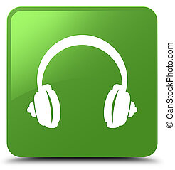Headphone icon soft green square button