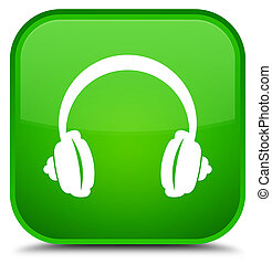 Headphone icon special green square button