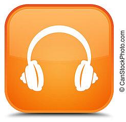 Headphone icon special orange square button