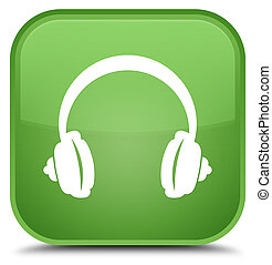 Headphone icon special soft green square button