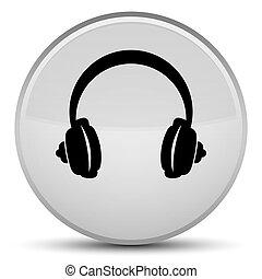 Headphone icon special white round button