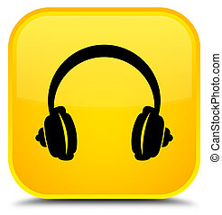 Headphone icon special yellow square button