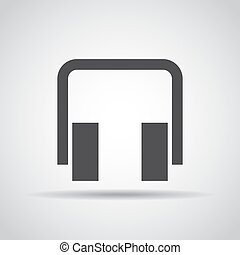 Headphone icon with shadow on a gray background. Vector illustration