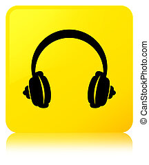 Headphone icon yellow square button