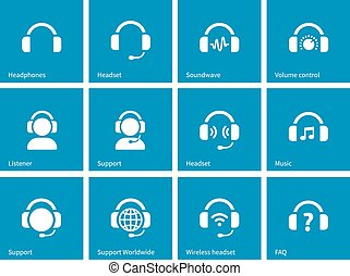 Headphone icons on blue background. Vector illustration.