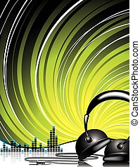 Headphone - Illustration for musical theme with headphone on...