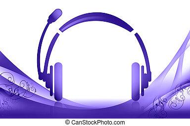 Headphone - Illustration of a head phone and falling leaf