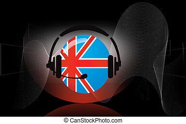 Headphone - Illustration of flag round and head phone