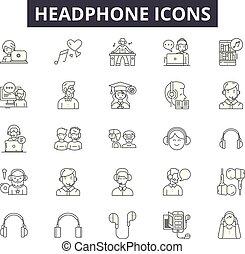 Headphone line icons, signs set, vector. Headphone outline ...