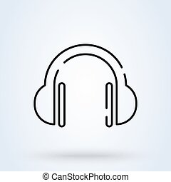 headphone outline. Simple vector modern icon design illustration.