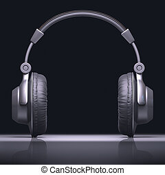 Headphone Text Center - Headphone with reflection in desk. ...