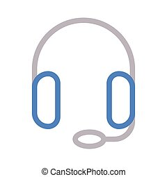 headphone thin color line vector icon