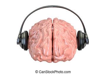 Headphone with brain, 3D rendering