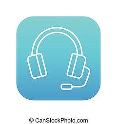 Headphone with microphone line icon.