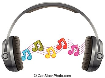 Headphone with music notes on white background