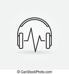 Headphone with music wave vector linear icon