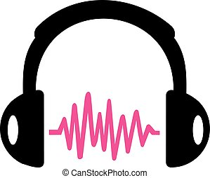 Headphone with pink sound wave