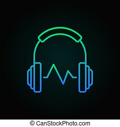 Headphone with sound wave vector colored linear icon