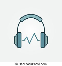 Headphone with sound wave vector symbol or icon
