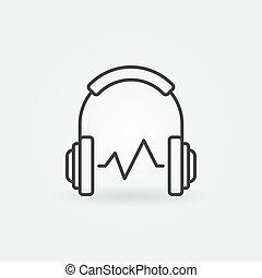 Headphone with sound wave vector symbol or icon in outline style