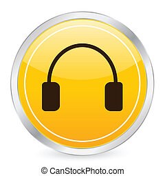 headphone yellow circle icon