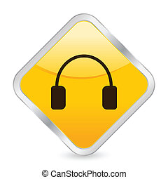 headphone yellow square icon