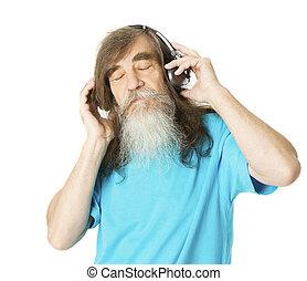 headphones., γριά , ακούω , μουσική , άντραs , αρχαιότερος , γένια